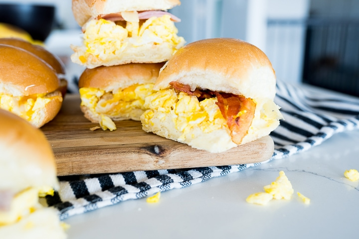 finished bacon egg and cheese sliders