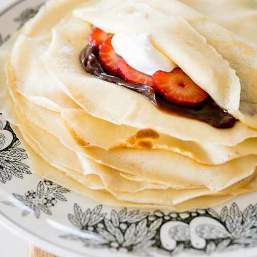 homemade crepes with chocolate and strawberries