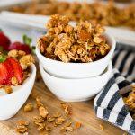 Homemade granola in a small white bowl