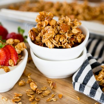 Homemade granola in a small white bowl
