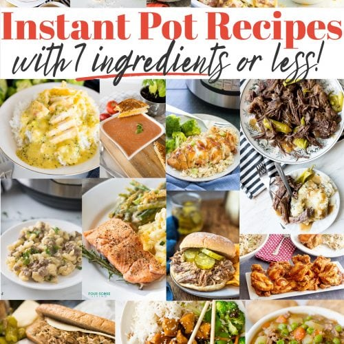 photo collage with different finished Instant Pot recipes