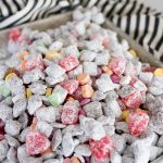 valentines day snack mix with muddy buddies and valentines candy