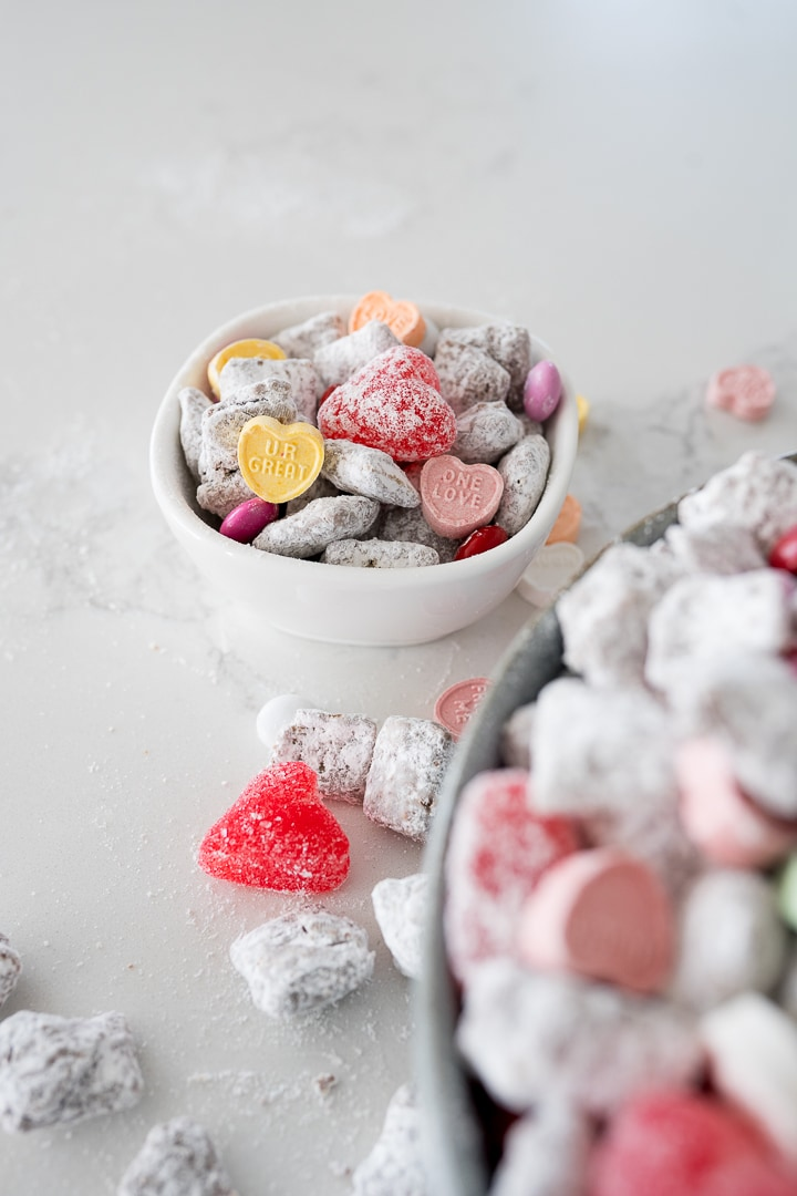 valentines snack mix in a small white bowl