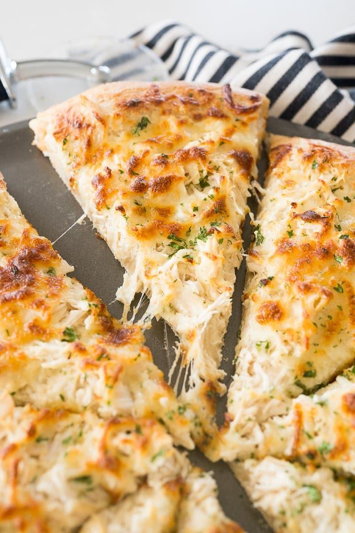 chicken Alfredo pizza slice