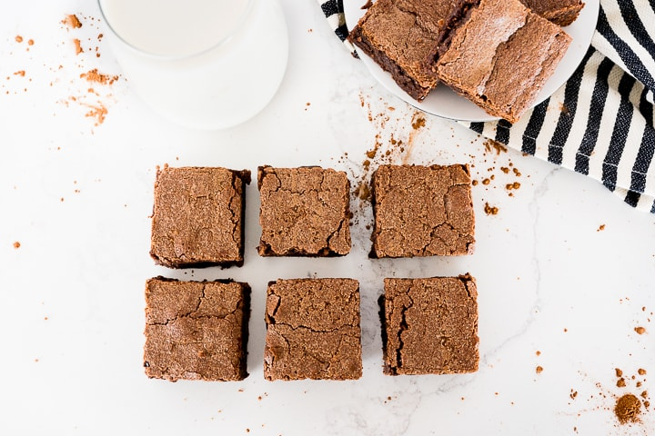 homemade brownies cut into squares