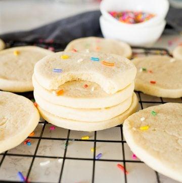 slice and bake sugar cookies, stacked with sprinkles