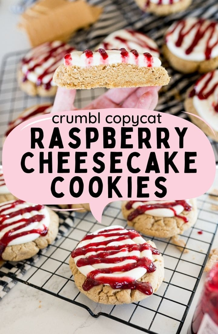 Crumbl's Raspberry Cheesecake Cookies are a Graham Cracker flavored Cookie base topped with a Cheesecake Frosting and a Raspberry Preserves Drizzle. This is my recipe, inspired by Crumbl's Cookie. |Cooking with Karli| via @cookingwithkarli