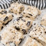 Cookies and cream Rice Krispie treats cut into squares