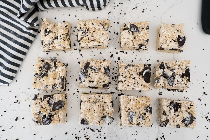 cut Oreo Rice Krispie treats on the counter, arranged in a rectangle