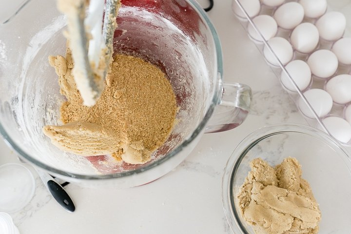 adding graham cracker crumbs to half of the base cookie dough