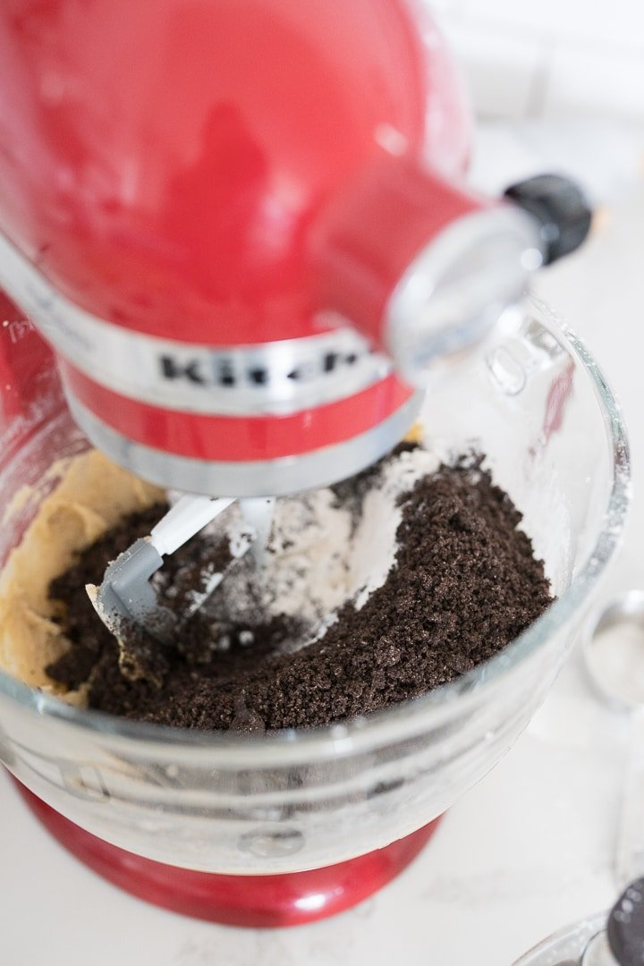 kitchen-aid mixer with Oreo cookie crumbs inside.