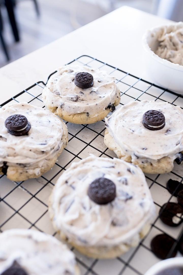 cookies and cream milkshake cookies on a black cooling rack