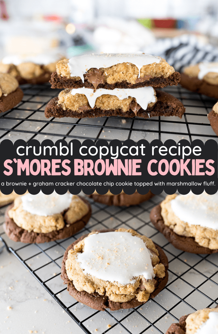 pin image for Crumbl's smores brownie cookie