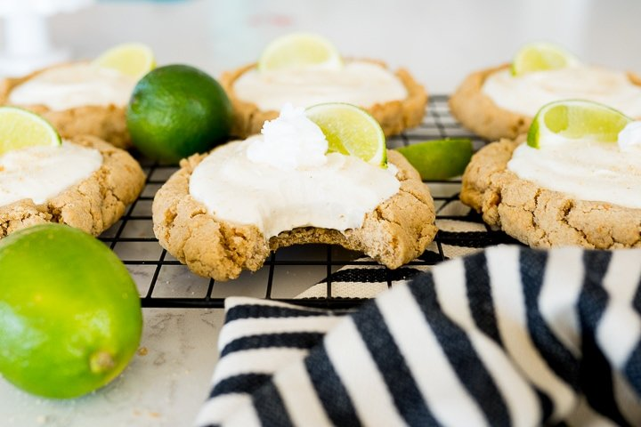 key Lime pie cookies with a bite taken out of it