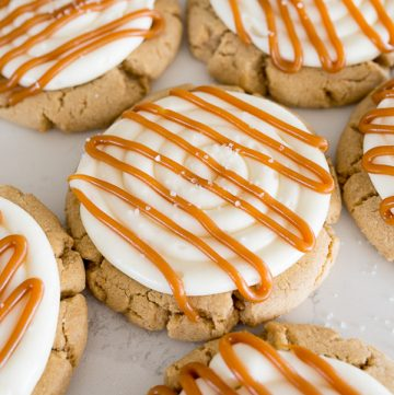 salted caramel cheeesecake cookies on the counter