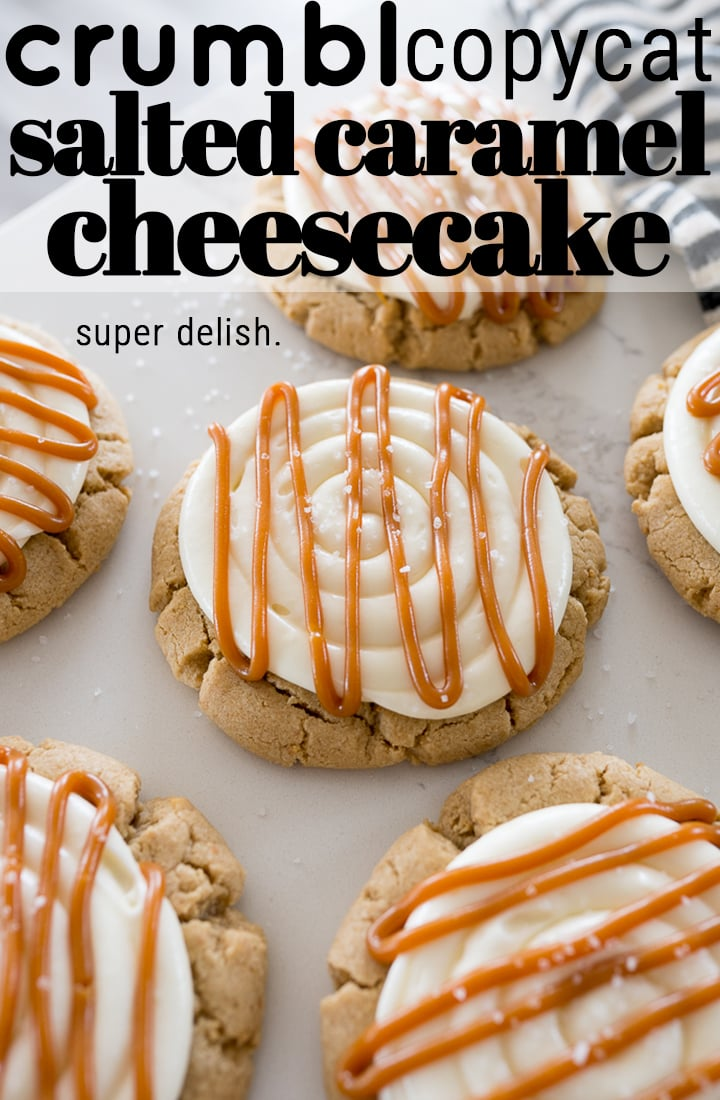pin image for salted caramel cheesecake cookies