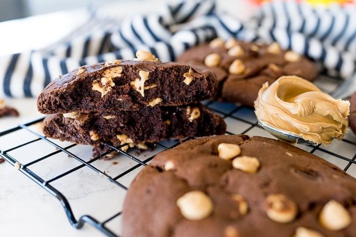 chocolate cookie broken in half