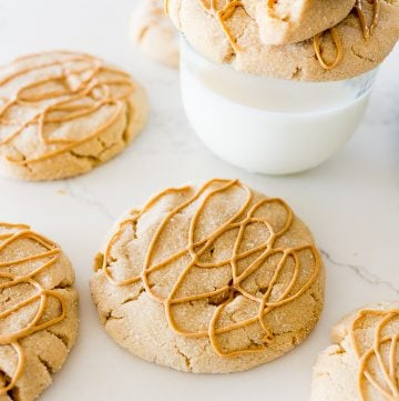 Crumbl Ultimate Peanut Butter Cookies on the counter