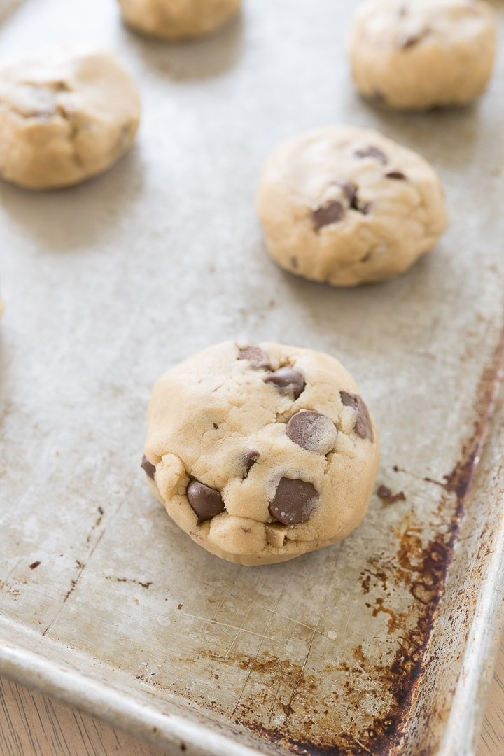 Cookie dough on a pan before baking