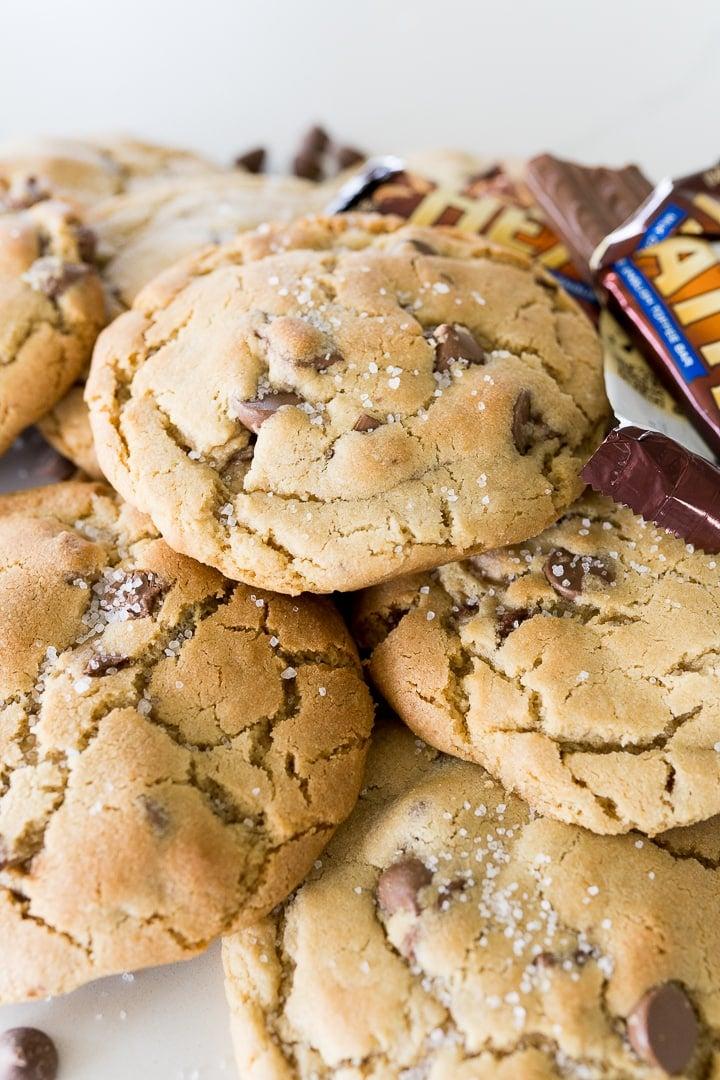 A pile of sea salt toffee cookies