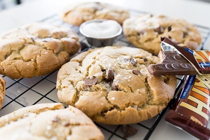 sea salt toffee cookies with a heath bar
