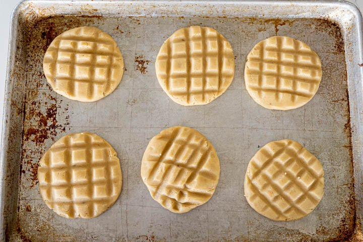 waffle cookies on cookie sheet prior to baking
