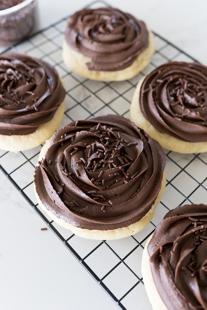 chocolate cupcake cookie from crumbl on a cookie cooling rack