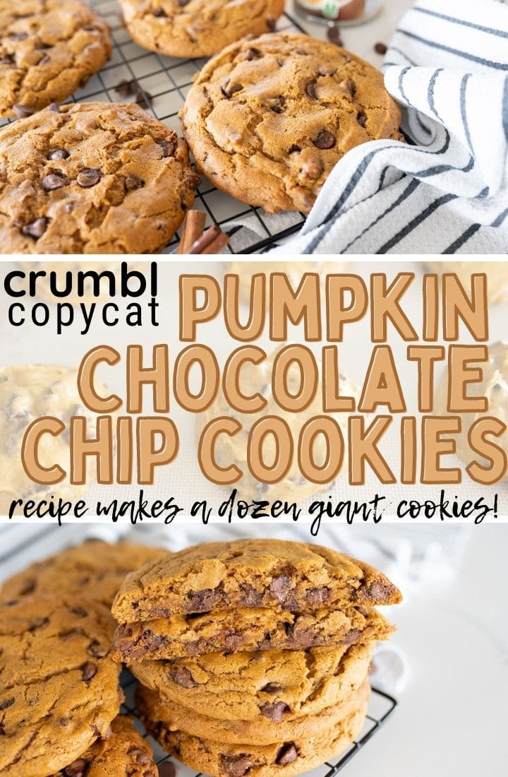 pin image for Crumbl pumpkin chocolate chip cookies